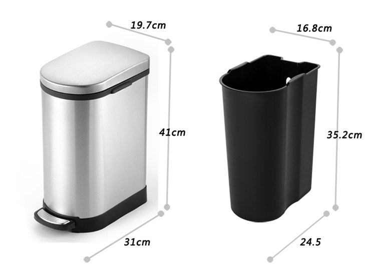 2.6 Gallon Kitchen Waste Bin Soft Close Lid
