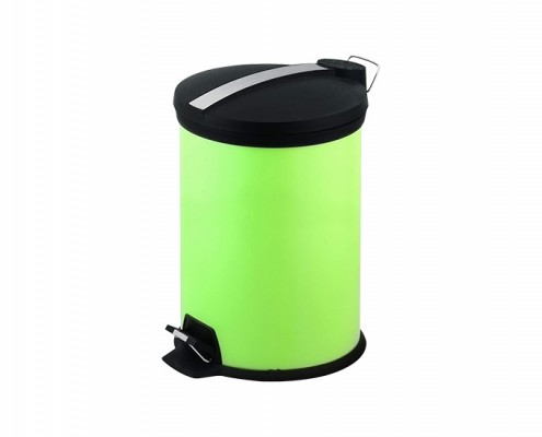 Stainless Steel Wastebin, Mini Round Step Trash Can 3L Green