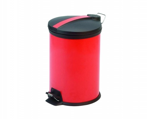 Office Bathroom Small Red Round Step Trash Can