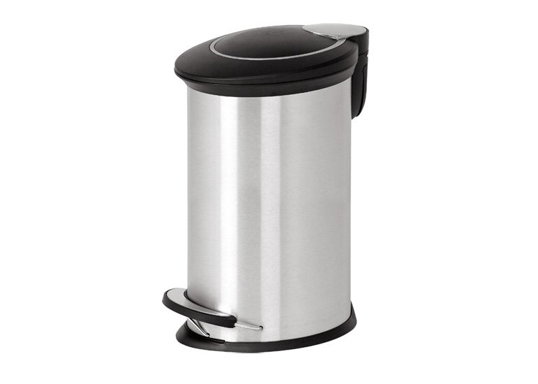 oval step open garbage can with plastic lid