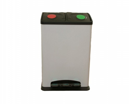 Recycle Waste Bin, Recycling Garbage Can, 2 Compartments Dustbin, 16 / 20 / 24 Litre Pedal Step Rubbish Bin With Plastic Cover