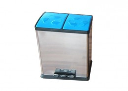 Recycle Waste Bin, Recycling Garbage Can, 2 Compartments Dustbin, 16 / 20 / 24 / 50 Litre Pedal Step Rubbish Bin With Plastic Cover