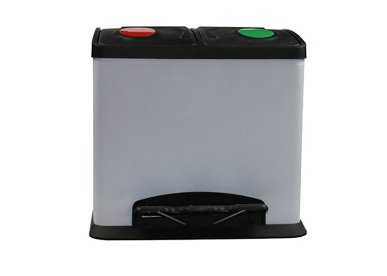 recycling bin, pedal open trash can, two- compartment dustbin