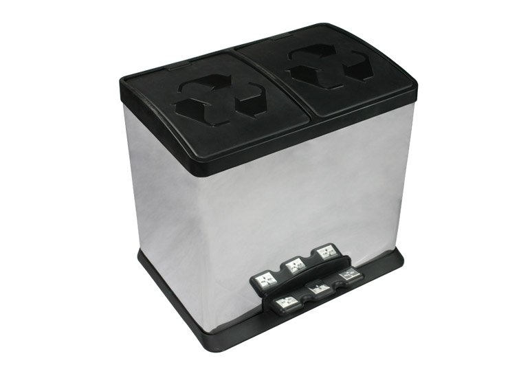 pedal trash can, recycling 2-compartments rubbish bin