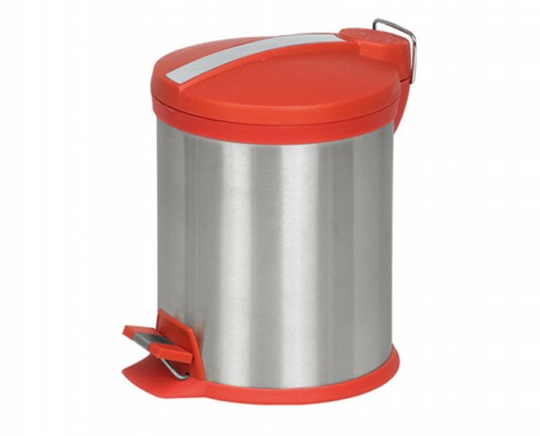 Round Garbage Bin With Plastic Lid, Pedal Step Dustbin, Stainless Steel Trash Can, Rubbish Bin