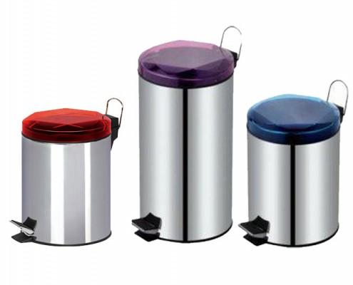 round dustbin, step-on wastebin, stainless steel garbage can