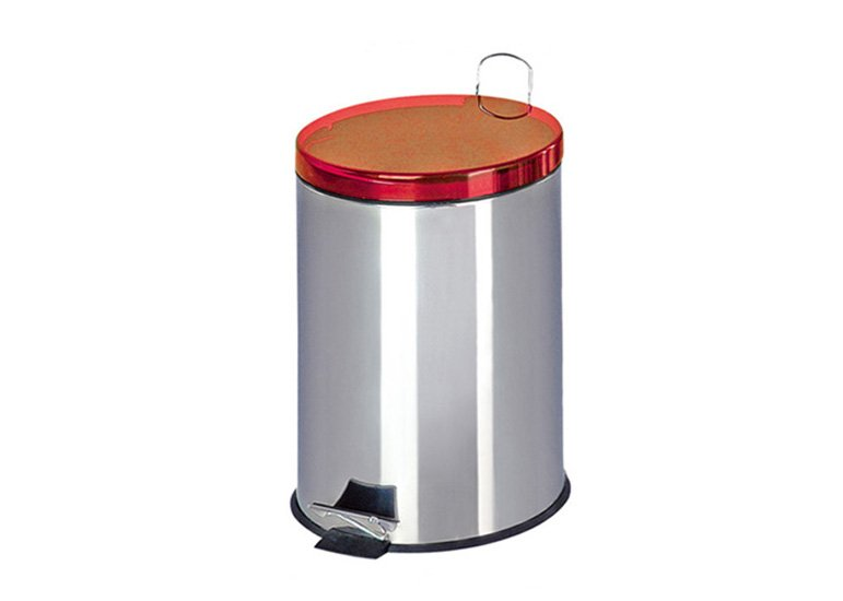 round dustbin, step-on wastebin, stainless steel garbage can