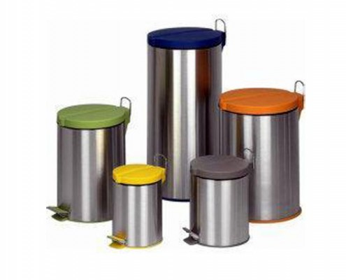 Stainless Steel Trash Can, Wastebin, Garbage Bin, Rubbish Bin, Step Open Trash Bin With Plastic Lid, Pedal Step Bin