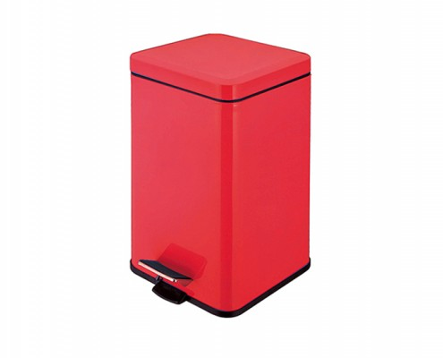 square stainless steel pedal rubbish bin Red