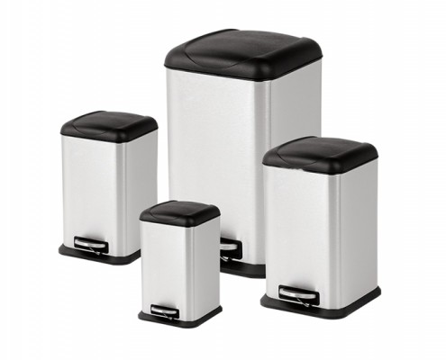 square stainless steel step dustbin