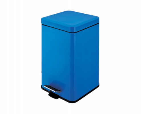 square stainless steel pedal bin blue