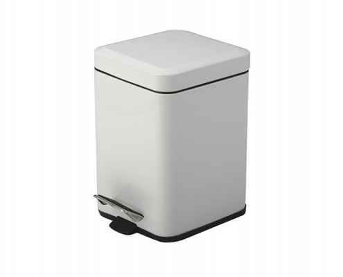 square stainless steel pedal bin white