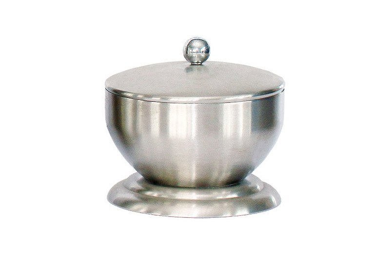 Stainless Steel Bowl Shape Cotton Ball   Swab Holder with Lid. Cotton Swab Holder Wholesale   TRIANGLE HOMEWARE