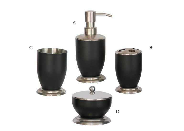 Bath Accessories Sets with Black Coating : Triangle Homeware