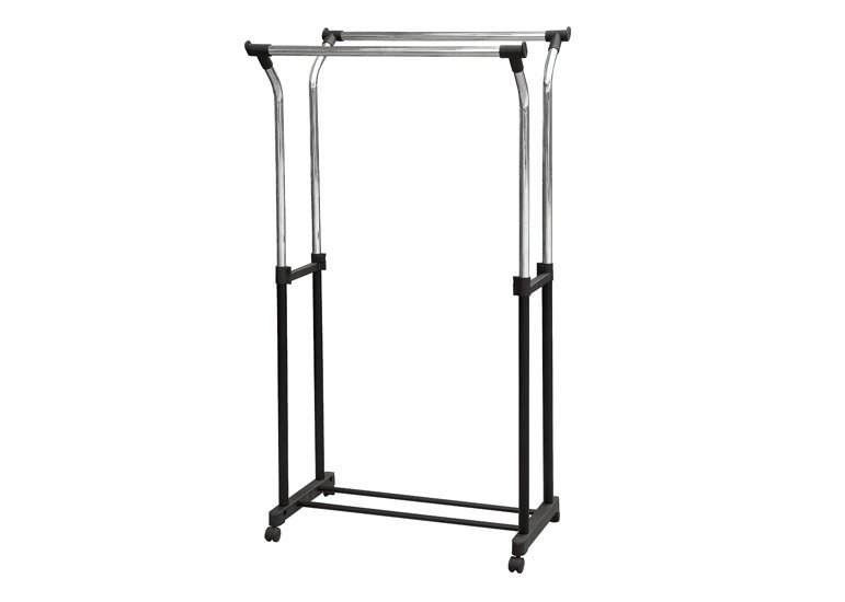 Double Tube Extendable Rolling Garment Rack