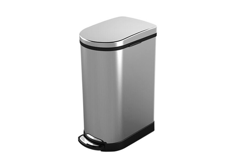 Semi-round Kitchen Waste Bin Soft Close Lid, Stainless Steel Trash Can