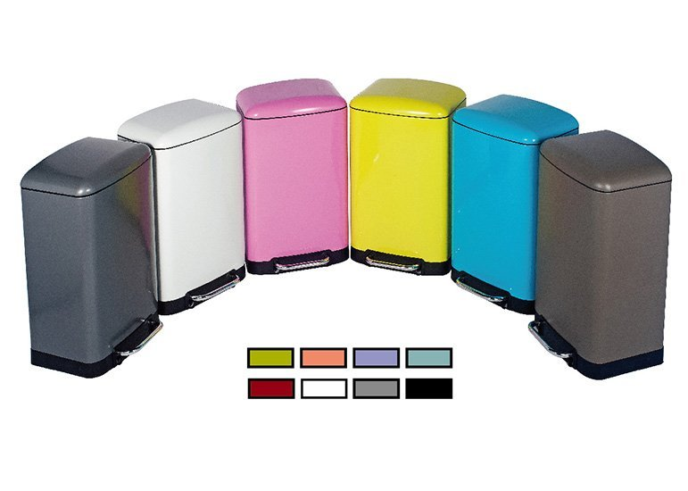 Colored Rectangular Stainless Steel Trash Can