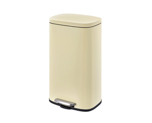 Rectangular Waste Can steel lid beige 30Liter