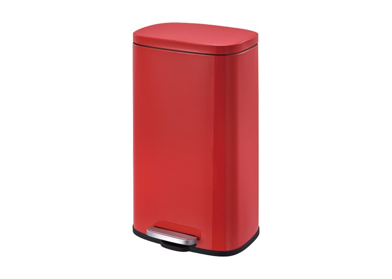 Rectangular Waste Can with damper red 30Liter