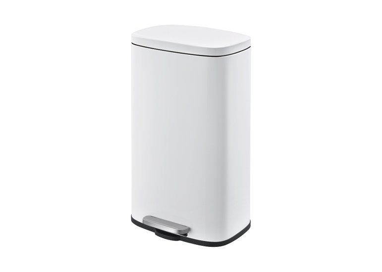 Rectangular Waste Can Pedal Bin white 30Liter