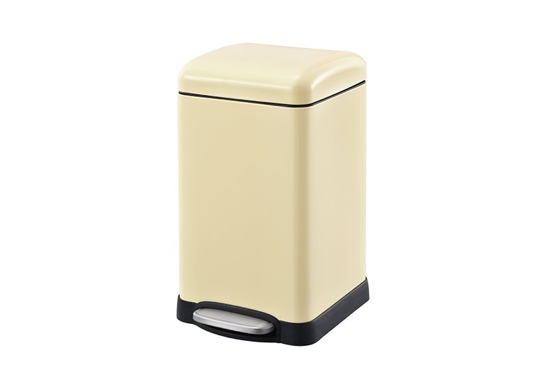 Square Pedal Waste Can Beige Steel Lid DBS-09C