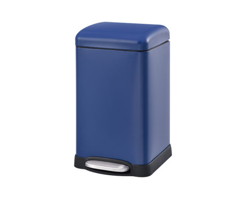 Square Pedal Waste Can Blue Steel Lid DBS-09C