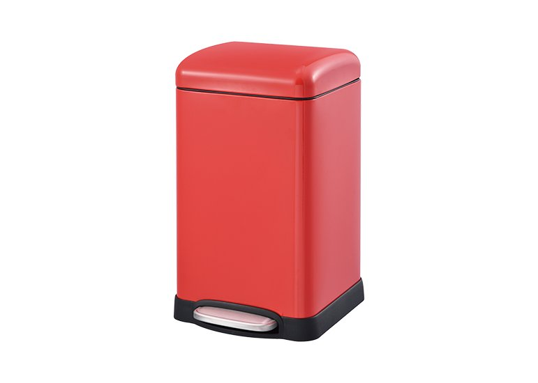 Square Pedal Waste Can Red Steel Lid DBS-09C
