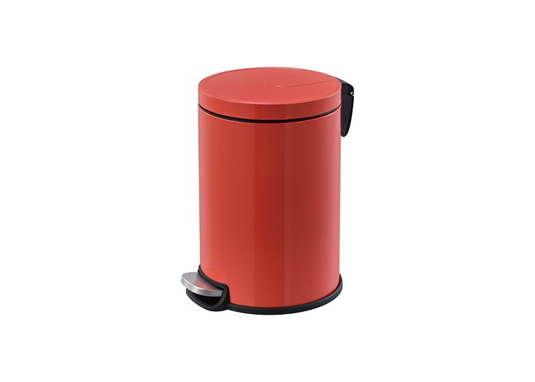 Step Waste Bin Steel Lid Red