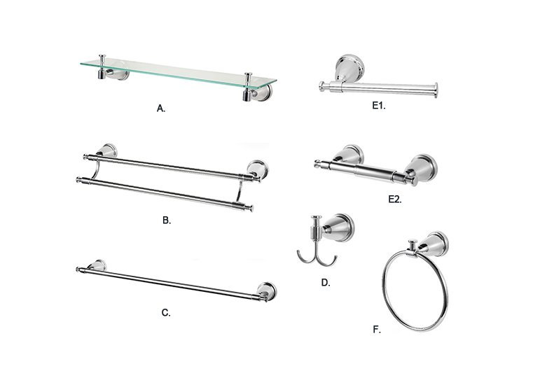 6-Piece Bath Hardware Accessory Set, Polished Chrome