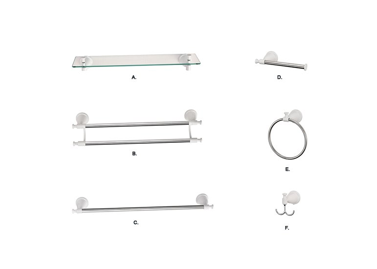 6-Piece Bath Hardware Accessory Set, Powder Coationg