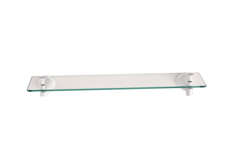 Zinc die-cast Construction Glass Shelf White Powder Coating