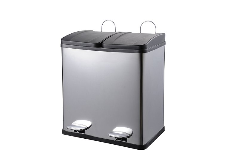 2 Compartment Stainless Steel Trash Recycling Bin