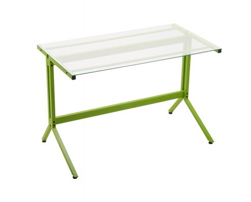 Glass Top Computer Desk Green