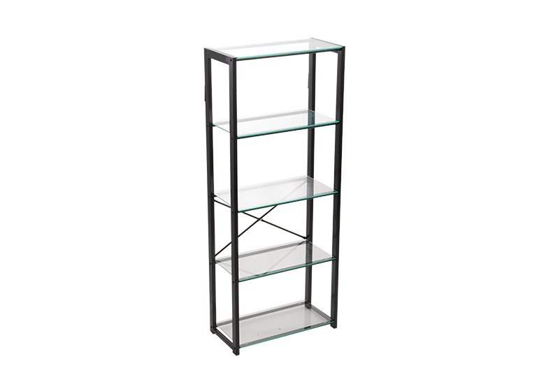 Metal Storage Rack Glass Shelf