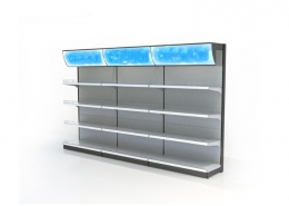 Single Side Supermarket Gondola Shelving Led Lights